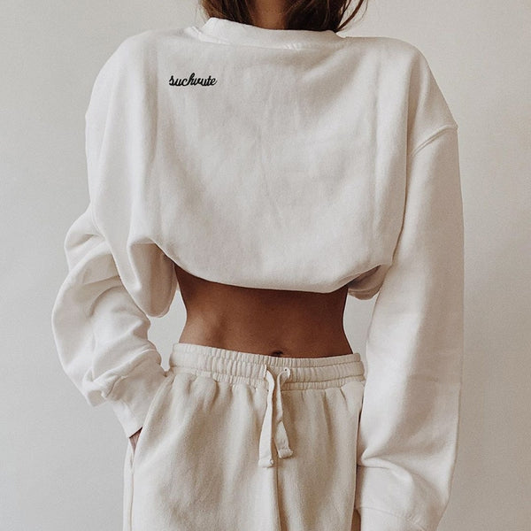 Artsu Casual White Long Sleeve Crop Top Sweatshirt Women Autumn Clothes Long Sleeve Cotton Pullovers Hoodies Streetwear HO41793