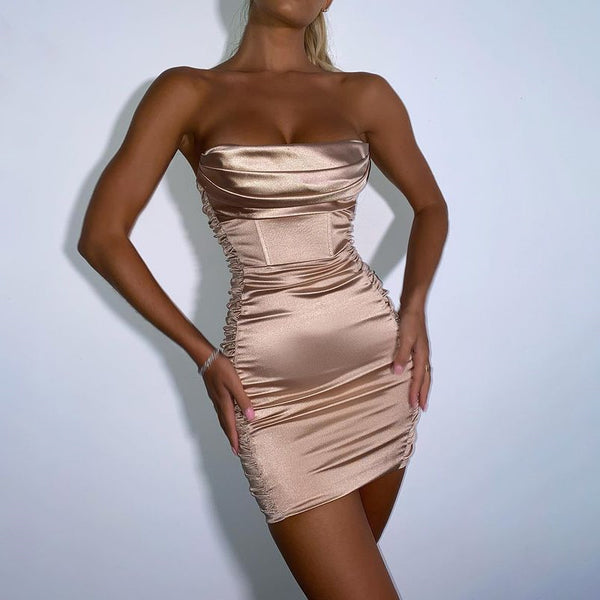 ARTICAT Bodycon Party Dress For New Year 2021 Women Satin Backless Club Clothes Off Shoulder Strapless Vestidos Woman's Elegant