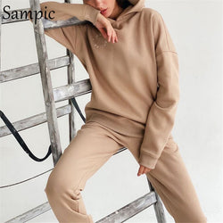 Sampic 2020 Autumn Women Outfits SweatPants Set Print Letters Long Sleeve Hoodies Tops And Sport Pants Two Piece Set Tracksuit