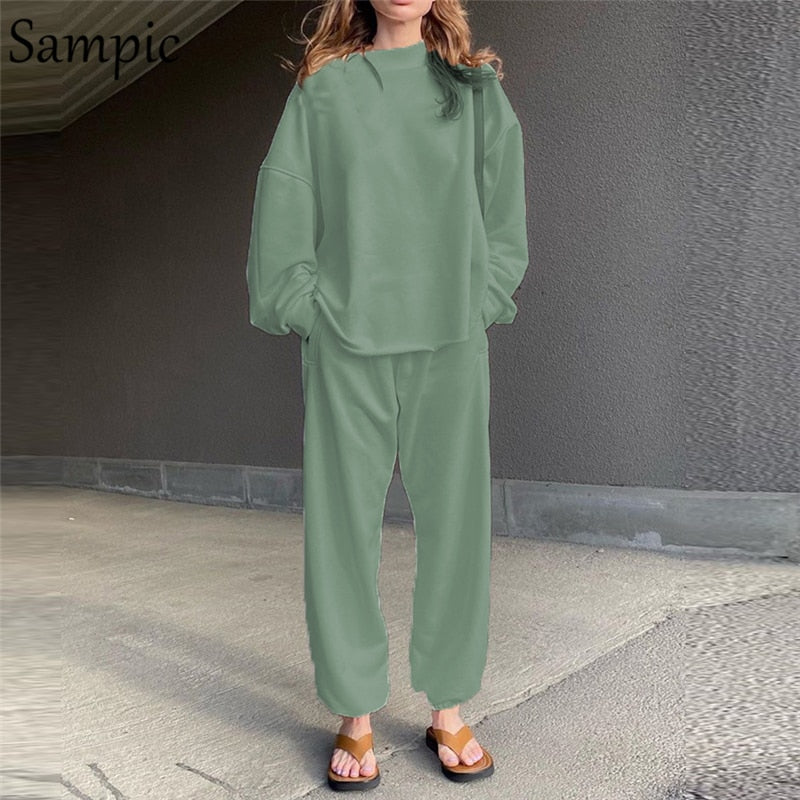 Sampic Women Winter Outfits Lounge Wear Sets Long Sleeve Shirt Tops And Loose Pants Bottom Suit Two Piece Set White Tracksuit