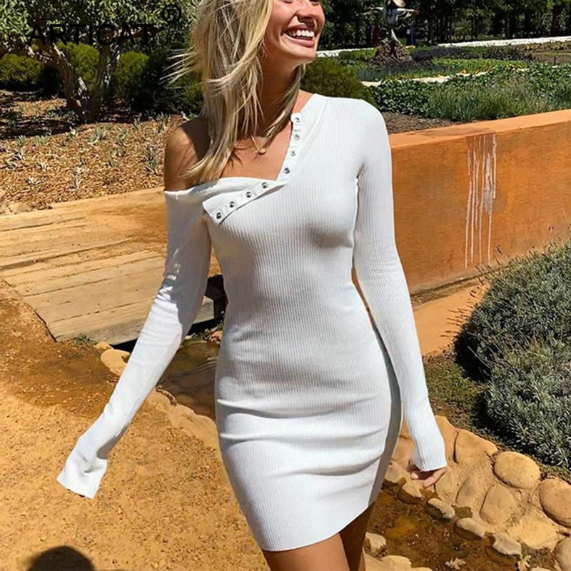 Articat Sexy Bodycon Strapless Dress Women Off-Shoulder Solid Skinny Club Party Dresses Female Knitted Wrap Dress New Style