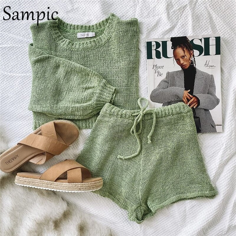 Sampic Women Fashion O Neck Casual Outfits Sweater Sets Long Sleeve Knit Shirt Tops And Loose Shorts Buttom Suit Two Piece Sets