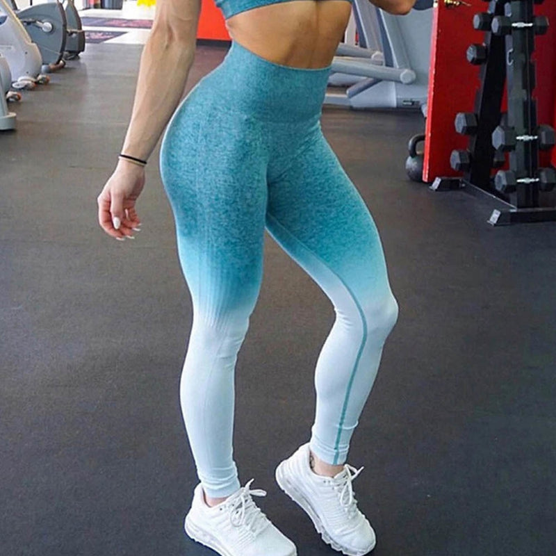 Women Seamless Gym Fitness Leggings High Waist Yoga Pants Running Tights Scrunch Butt Running Push Up Leggings