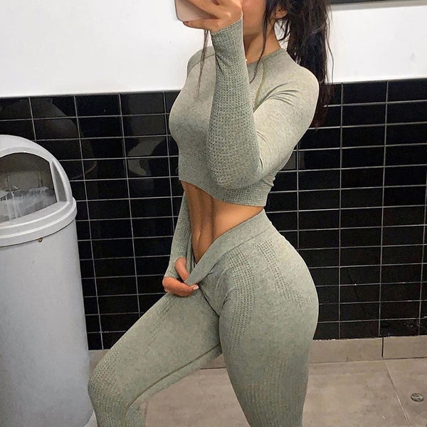 New Colors 2PCS Energy Seamless Yoga Set Women Workout Set Sportswear Fitness Clothes For Women Clothing Gym Leggings Sport Suit