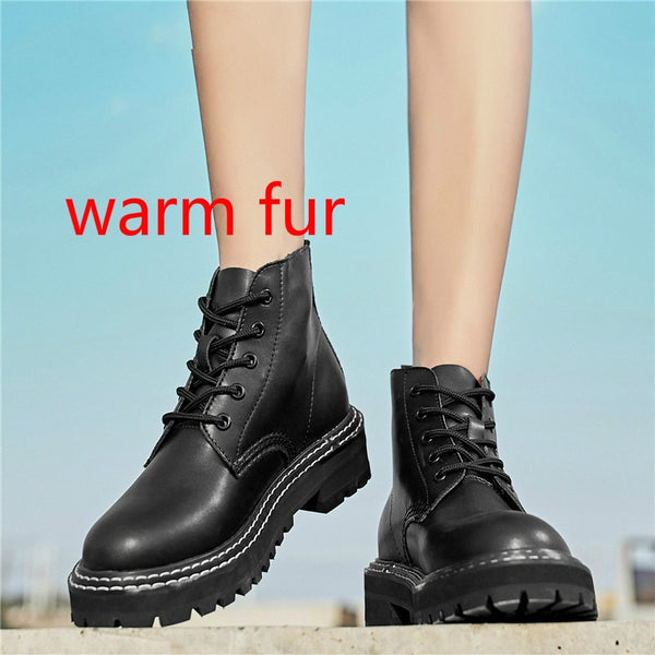Autumn Women Chelsea Boots Genuine Leather Ankle Boots for Women Casual  Motorcycle Shoes Winter Fur Couple Shoes Zapatos Mujer