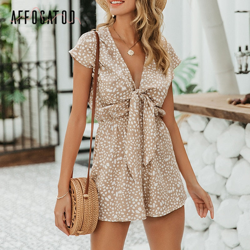 Affogatoo Sexy elegant bow sleeveless wide leg women rompers short jumpsuits casual loose bow tie playsuits leopard short romper