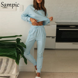 Sampic Fashion Women 2020 Winter Sport Sets O Neck Long Sleeve Shirt Tops And Skinny Pants Set Two Piece Set Bottom Suit Outfits