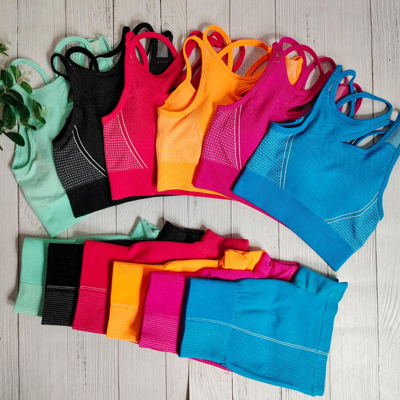 Seamless Yoga Shorts Set Gym Sports Suit Female Workout Clothes Support Sports Bra Set Women Sportwear Fitness Outfit For Woman