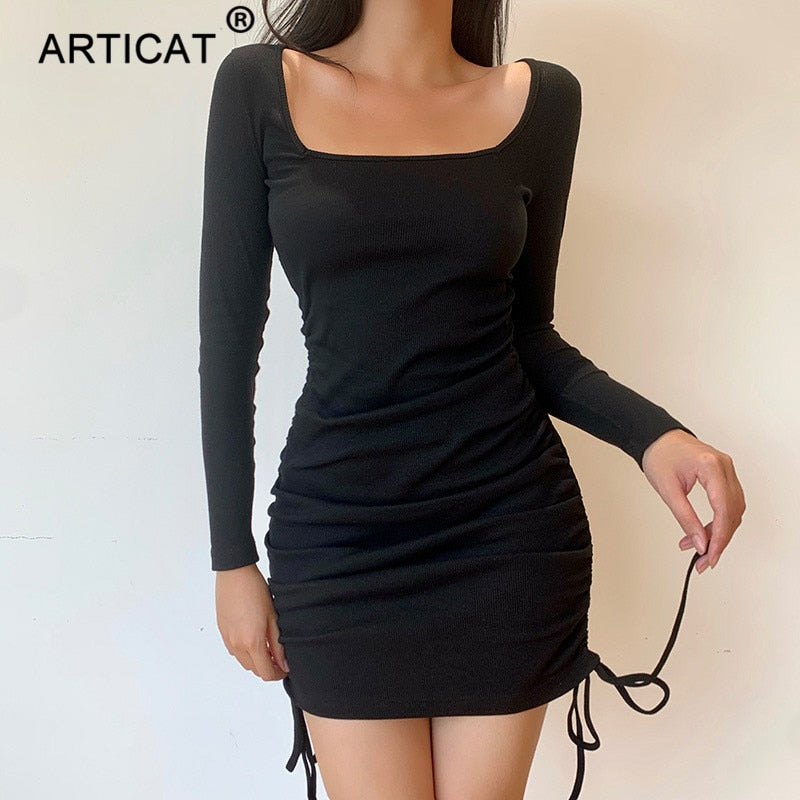 Articat Ribbed Knited Drawstring Dress For Women Solid Long Sleeve Square Collar Mini Dresses Ladies Streetwear Party Vestidos