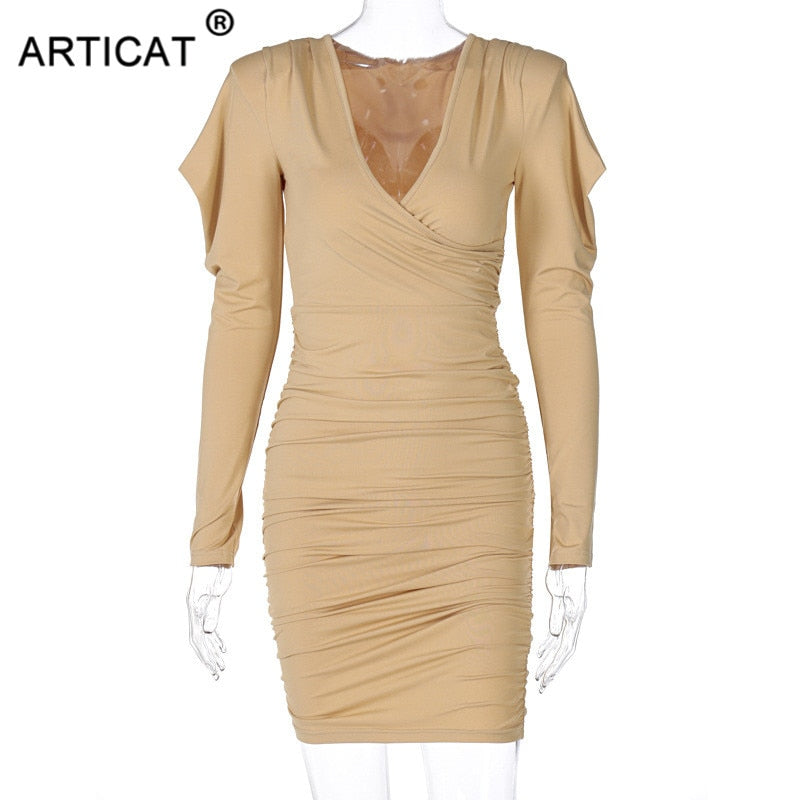 Articat Bodycon Deep V-neck Dress Women Solid Long Sleeve Ruched Dresses Woman Spring Streetwear Skinny Club Party Clothing