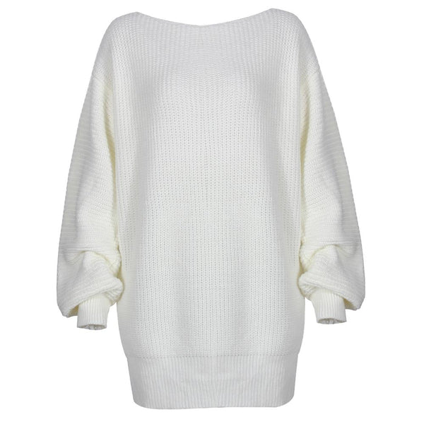 The hottest ladies casual off-shoulder lantern sleeve knitted sweater dress