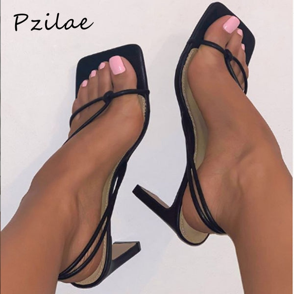 Pzilae 2020 fashion women sandals square toe high heels women slip-on sandals sexy ladies narrow band dress party shoes size 42