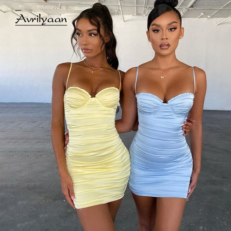 Avrilyaan yellow Pleated Backless Autumn Dress Women Spaghetti Strap Mini Party Dresses Vestido Night Club Sexy Dress Clothes