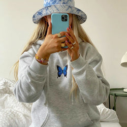 Artsu Butterfly Print Oversized Sweatshirt Women White Hoodies Harajuku Casual Long Sleeve Pullovers Ladies Sweat Shirt HO41588