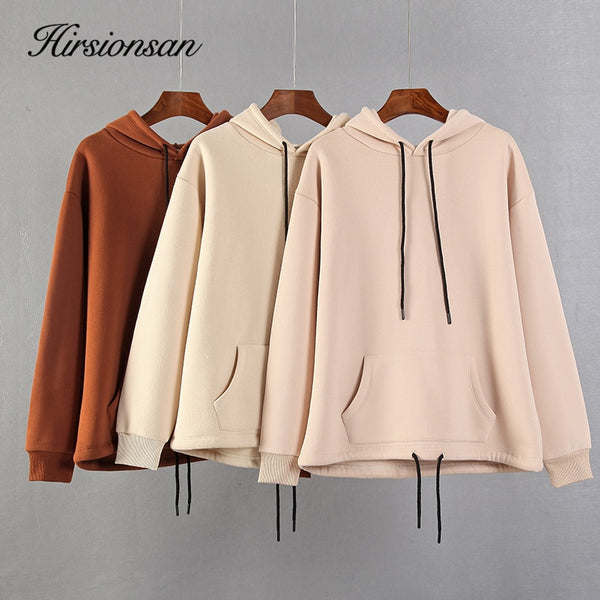 Hirsionsan Winter Sweatershirt Women 2020 New Casual Tracksuit Sets Fashion Cotton Solid Hoodies Korean Soft Sweatpants for Lady