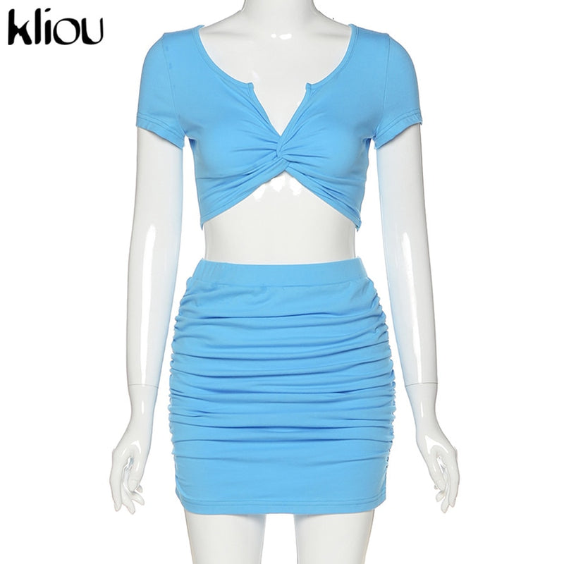 Kliou solid two piece skirt set women v-neck short crop top bodycon short sleeve partywear clothes summer new female streetwear