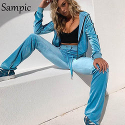 Sampic Long Sleeve Hoodies Two Piece Set Tracksuit Jogging Women Two Piece Pink Outfits Casaul Sweatsuit Top Pants Autumn Set