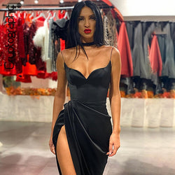Cryptographic Spaghetti Straps Black Sexy Backless Midi Dresses Gown Party Club Sleeveless Bodycon Split Dress Vestidos Solid