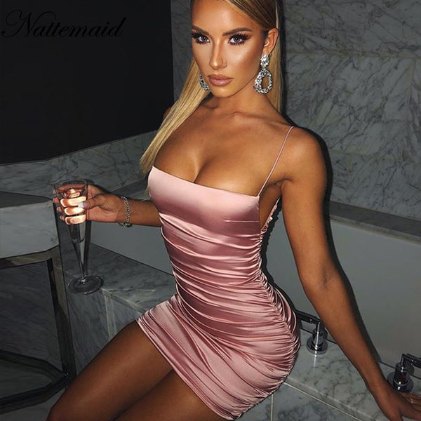 Tobinoone Spaghetti Strap Mini Satin Dress Women Sexy Backless Summer Bodycon Party Dress Pleated Stretch Short Club Dress