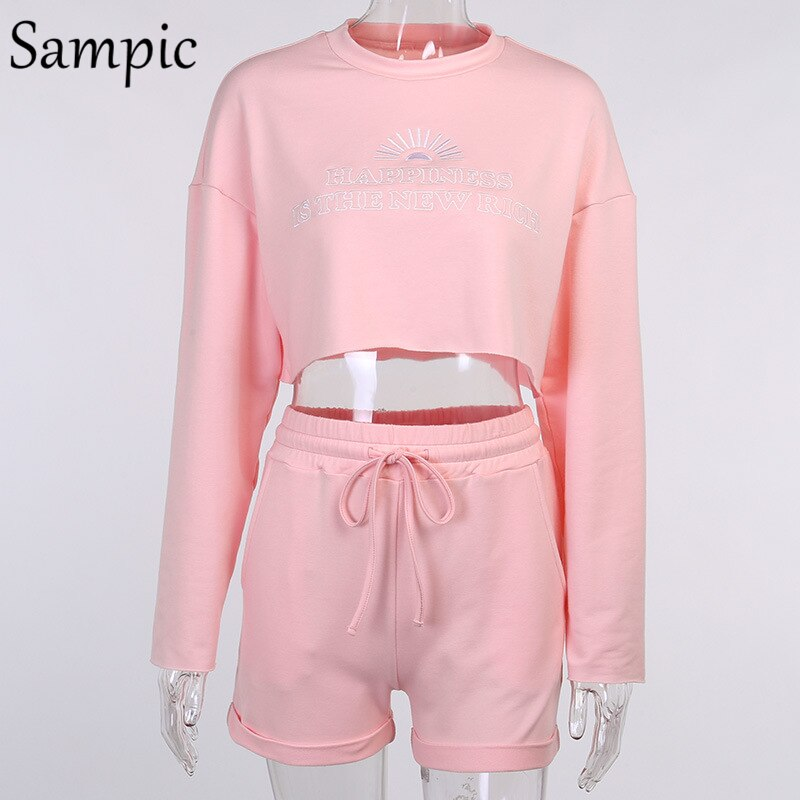 Sampic Sexy Women Print 2 Piece Set Outfits Long Sleeve Autumn Shirt Tops And Loose Biker Mini Shorts Two Piece Sets Tracksuit
