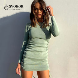 SVOKOR Ribbed Ruched Dress Knitted Cotton Woman dress Drawstring Long Sleeve Autumn Winter Dresses O-Neck