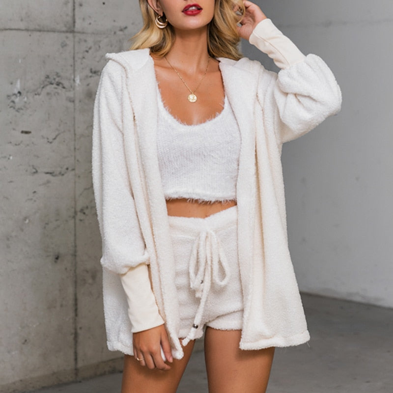 Autumn Velvet Three Piece Suit Outfits Sexy Women White Matching Set Crop Top And Shorts Lounge Home Wear Pijama Oversize Winter