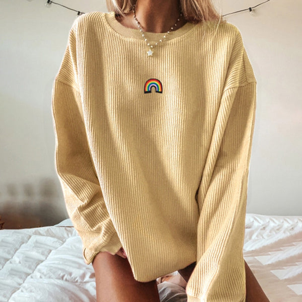 New Autumn Rainbow Pattern Printed Pullovers Sweatshirts Women Long Sleeve Streetwear Loose Oversize Clothes Female Yellow