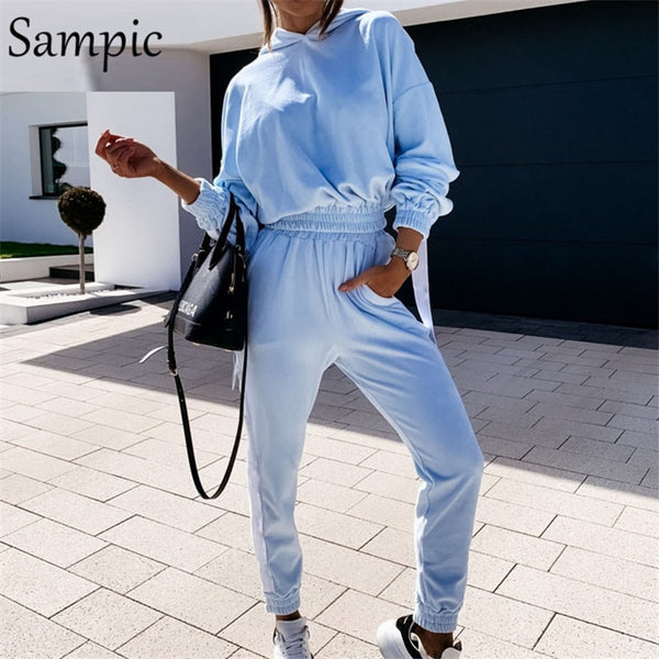 Sampic Casual Women Autumn Tracksuit Set Long Sleeve Sport Velvet Hoodies Tops And Pants Two Piece Set Sweatpants Suit Outfits