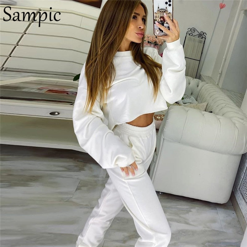 Sampic Autumn 2020 Women Sport Pants Set Casual Tracksuit Long Sleeve Sweatshirt Tops And Loose Pants Two Piece Set Outfits
