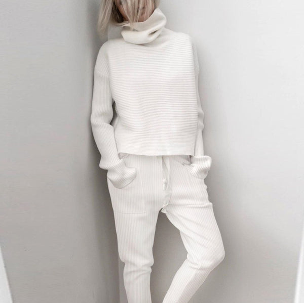 2 Two Piece Set Women Ribbed Turtleneck Pullover Tops and Long Pants Set Sexy Autumn Long Sleeve Tracksuit Women Conjunto Female