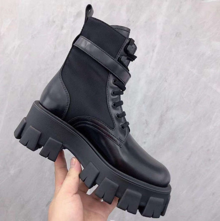 2020 Fashion Women Ankle Boots Autumn Lace Up High Quality Leather Boot Anti-slip Wear-resistant Comfortable Women Ankle Boot