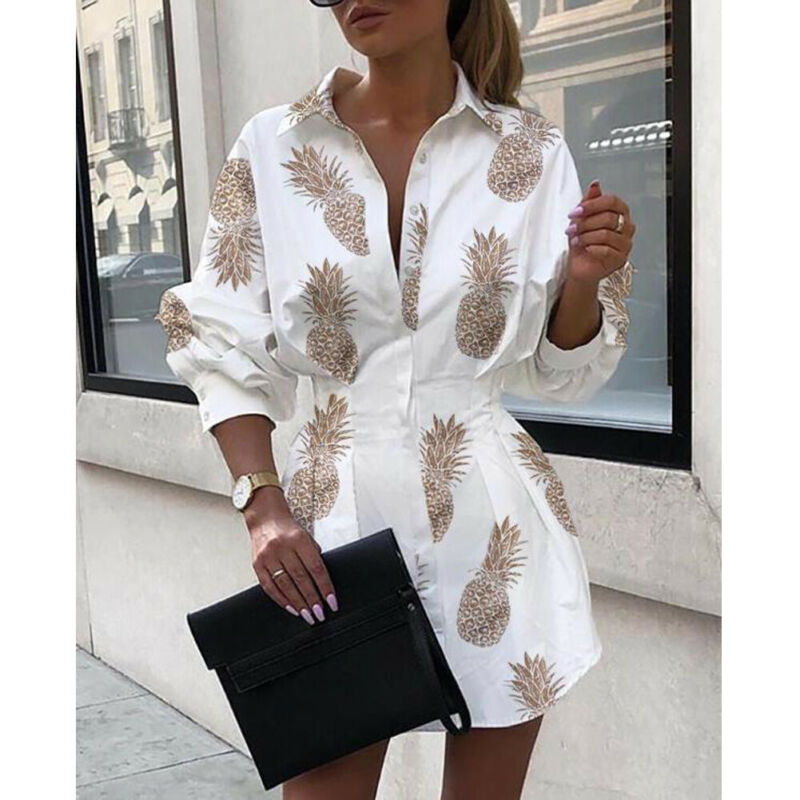 Office Lady Women Femal Ladies Long Sleeve Deep V Shirt Dress Sexy Mini Beach Dress  Elegant Sexy Party Dress New