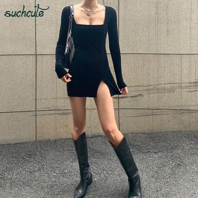 SUCHCUTE velvet women dress bodycon Modis soild Autumn Winter 2020 elegent split Femme Dresses party long sleeve gothic clothes