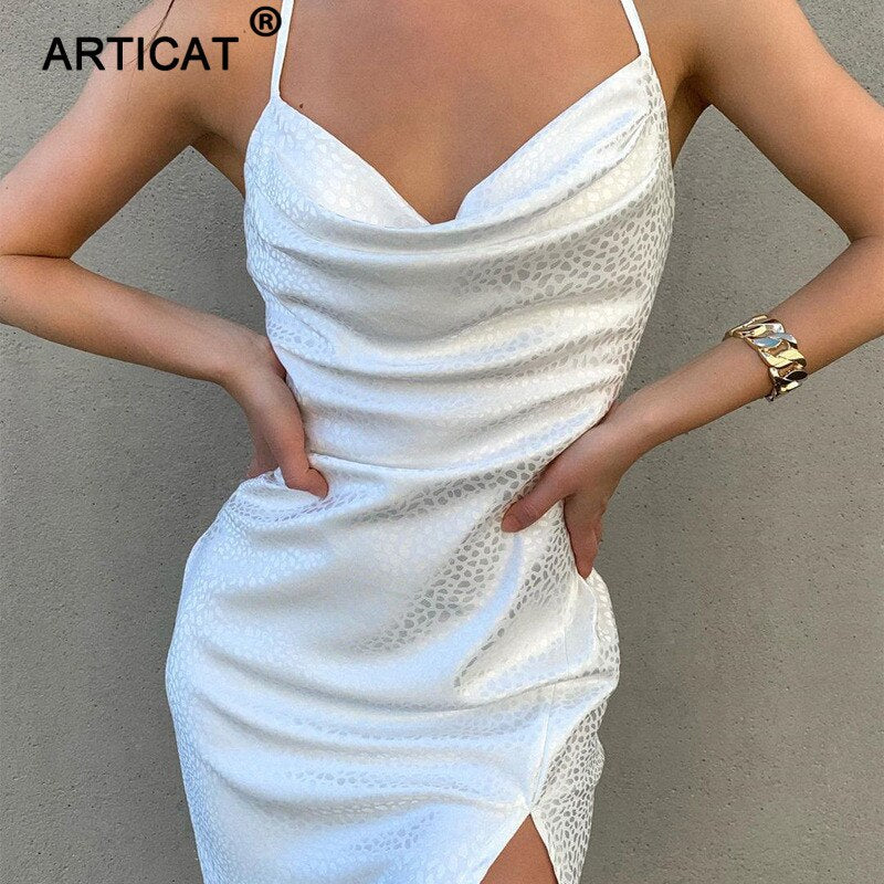 Articat New Casual Sling Leopard Split Backless Dress Women Loose High Waist Slim Dresses Leisure Sexy Clothing Summer Styles