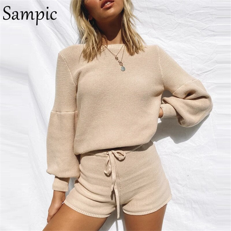Sampic Women Fashion White O Neck Long Sleeve Suit Knitted Sweater Tops And Bodycon Shorts Two Piece Set Outfits Lounge Wear