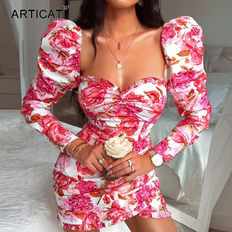 Articat Sexy Floral Printed Dresses Women Puff Long Sleeve Square Neck Bodycon Mini Dresses Female Club Party Clothes Vestidos
