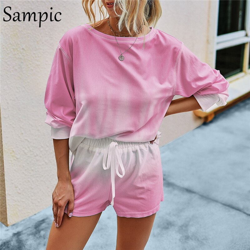 Sampic Lounge Wear Tie Dye Gradient Kit Two Piece Sets Summer Suit Loose Shorts And Long Sleeve Shirt Top Set Woman Outfits