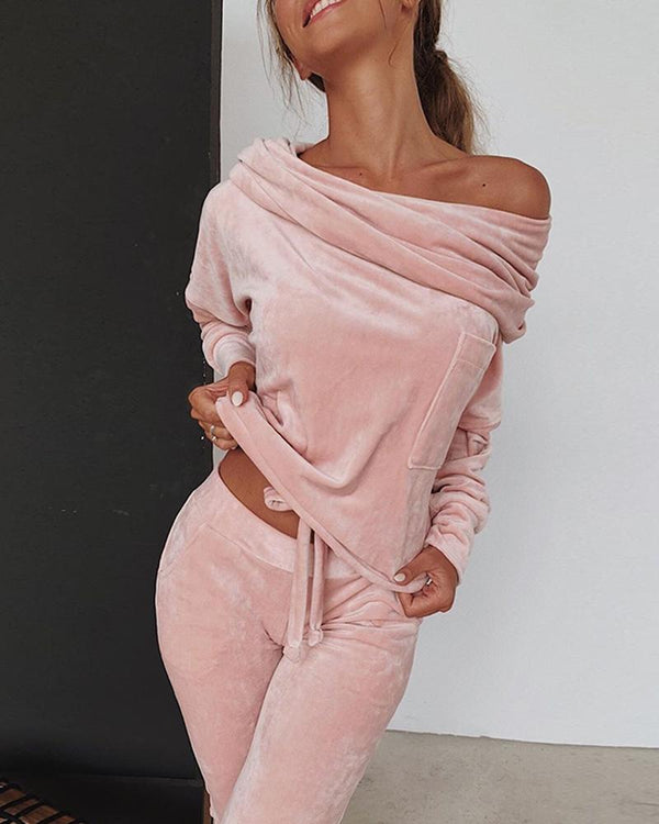Sweatshirt Women 2 Pieces Set Tracksuit Autumn One Shoulder Suit Pants Sportswear Suede Thick Lounge Suit