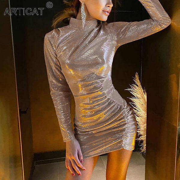 Articat Fashion Sequins Ruched Women Dress Silver Long Sleeve Turtleneck Dress 2021 Spring Women Skinny Partywear Club Vestidos