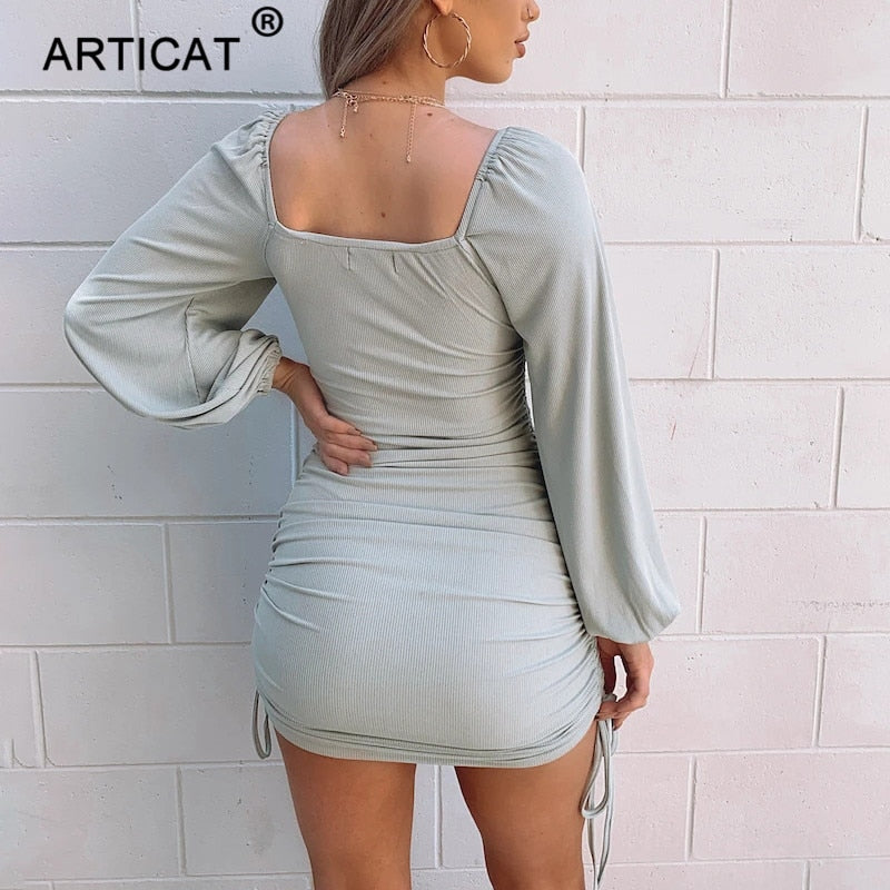 Articat Knitted Long Lantern Sleeve Sexy Women's Dress Solid Casual Streetwear Dresses Autumn Ladies Partywear New Blouse Dress