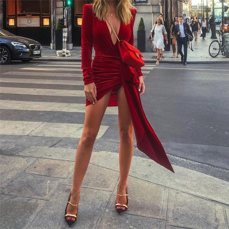 Tobinoone Club Wear 2019 New Autumn Mini Dress Women Sexy Deep V Neck Party Dress Woman Robe Velvet Bodycon Femme Dress Vestido