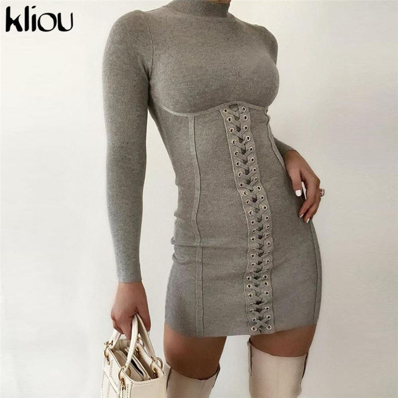 Kliou ribbed bow bandage drawstring women dress turtleneck full sleeve bodycon streetwear skinny stretchy solid casual dresses