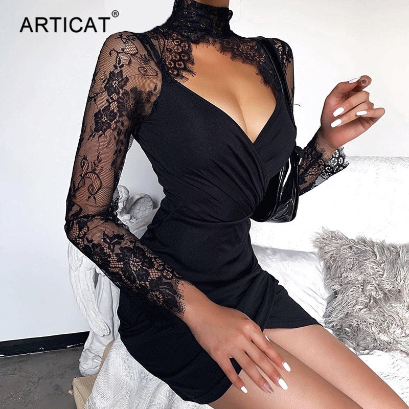 Articat Sexy Lace Sleeve V Neck Dress Women Patchwork Turtleneck Black Bodycon Dress Sheath Club Party Dress 2020 Fashion Summer