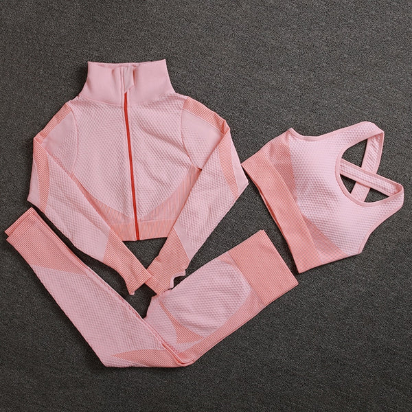 Seamless Women Yoga Sets Female Sport Gym Suits Wear Running Clothes Women Fitness Sport Gym Set Women Long Sleeve Yoga Clothing