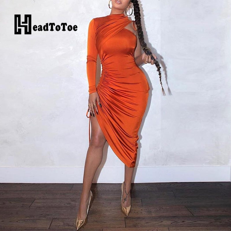 Sexy One Shoulder Drawstring Ruched Bodycon Dress Women Solid Long Sleeve Mid-calf Night Club Party Dress