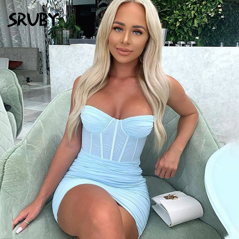SRUBY Mesh Spaghetti straps Summer Dress Women Sash Sexy Dress Mini Night Club Party Dress Bodycon Dress New fashion 2020