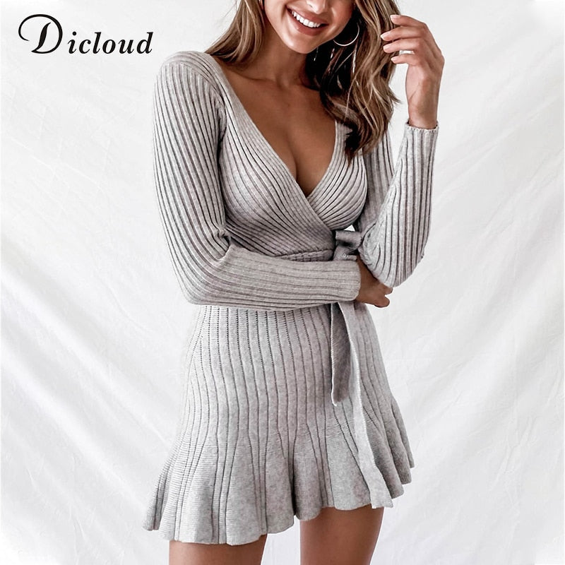 DICLOUD Sexy V Neck Knitted Ruffle Dress Women Winter Autumn Long Sleeve Party Day Dress With Waist Tie Ladies Ribbed Knitwear