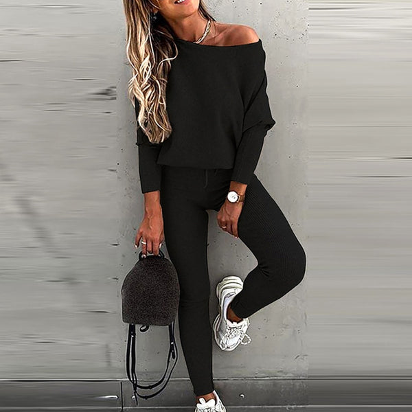 Casual Tracksuit Two Piece Set Women Sexy Off Shoulder Ribbed Tops and Jogger Long Pants Outfits 2020 Autumn Slim Sweatpants Set