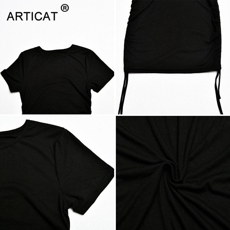 Articat Cotton Ruched Drawstring Bodycon Dresses For Women Short Sleeve O Neck Solid Party Sexy Mini Dress 2020 Summer Clothes