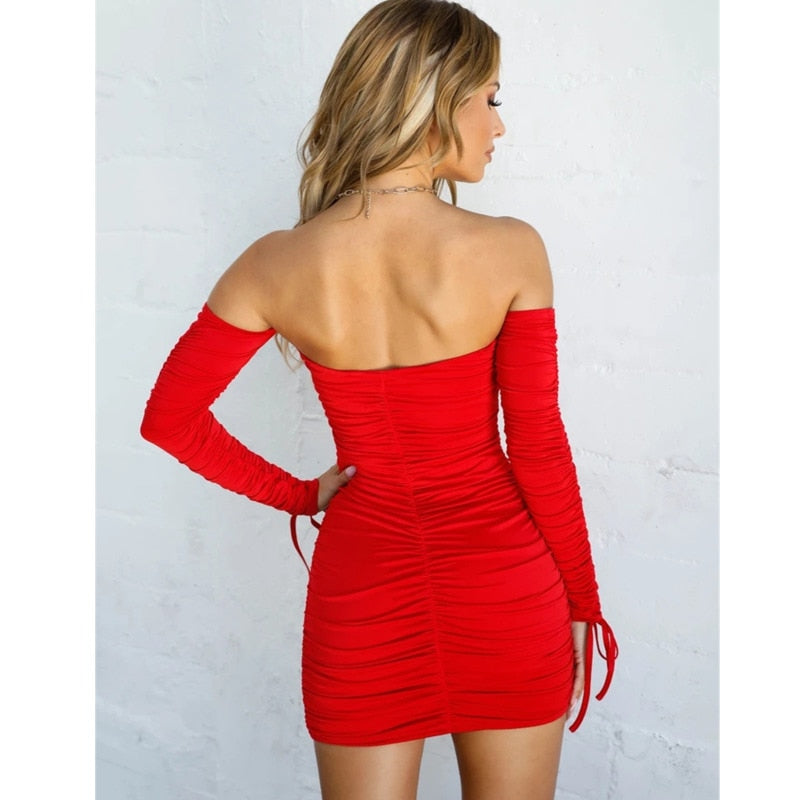 Tobinoone Mini Bodycon Summer Dress Women Club Hollow Out Ruched Backless Party Bandage Women Sexy Dresses Vestidos De Festa